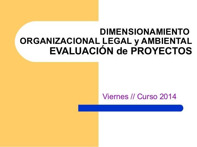 DIMENSIONAMIENTO ORGANIZACIONAL LEGAL y AMBIENTAL EVALUACIÓN de PROYECTOS Viernes // Curso 2014