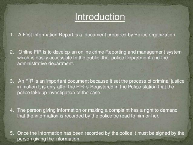 Online FIR System