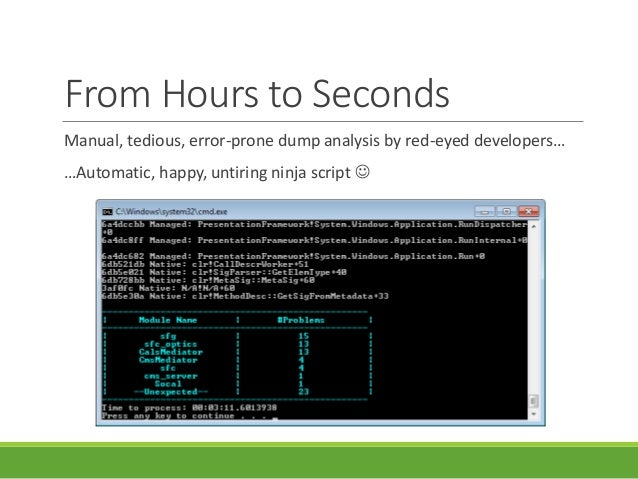 From Hours to Seconds Manual, tedious, error-prone dump analysis by red-eyed developers… …Automatic, happy, untiring ninja...