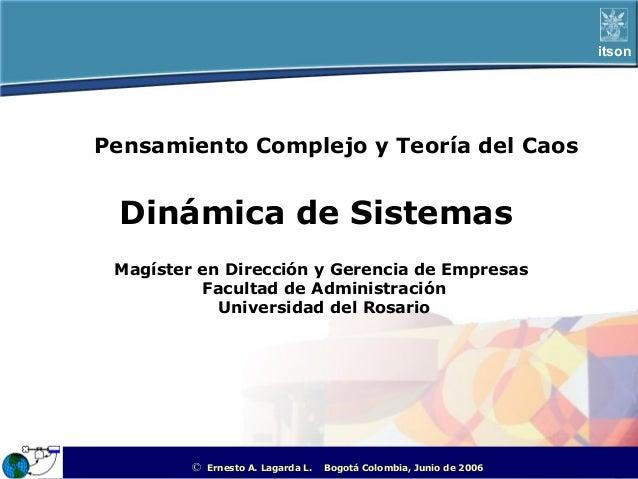 itsonPensamiento Complejo y Teoría del Caos Dinámica de Sistemas Magíster en Dirección y Gerencia de Empresas          Fac...