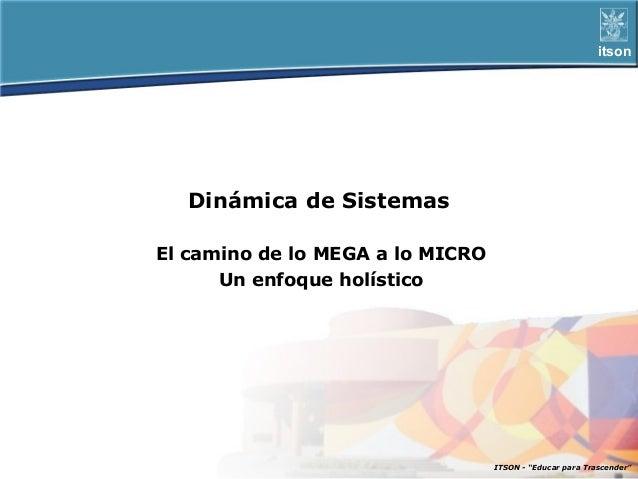itson   Dinámica de SistemasEl camino de lo MEGA a lo MICRO      Un enfoque holístico                                  ITS...