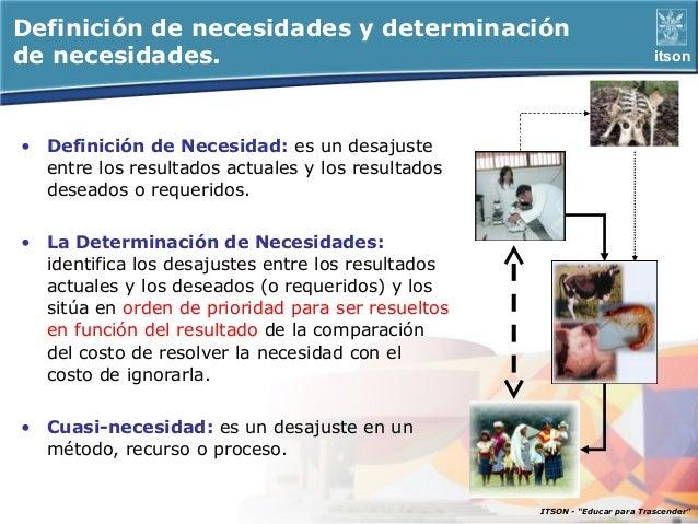 Definición de necesidades y determinaciónde necesidades.                                                            itson•...