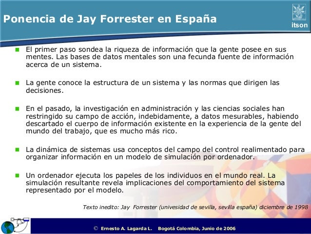 Ponencia de Jay Forrester en España                                                                         itson   El pri...