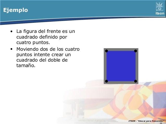Ejemplo                                                 itson • La figura del frente es un   cuadrado definido por   cuatr...