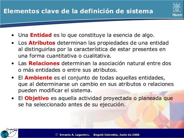 Elementos clave de la definición de sistema                                                             itson  • Una Entid...