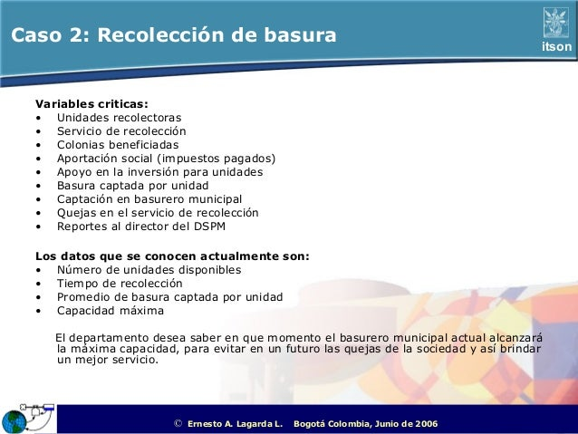 Caso 2: Recolección de basura                                                                                 itson  Varia...