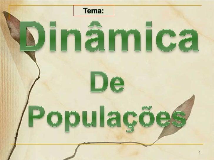 Resultado de imagem para Dinâmica de populações