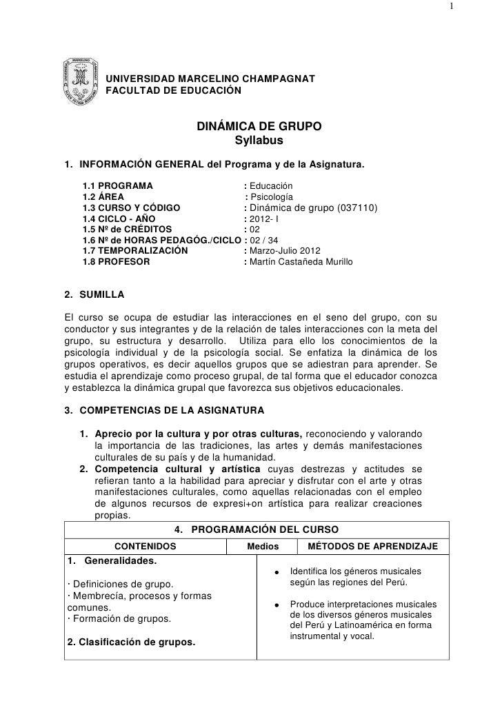 1         UNIVERSIDAD MARCELINO CHAMPAGNAT         FACULTAD DE EDUCACIÓN                              DINÁMICA DE GRUPO   ...