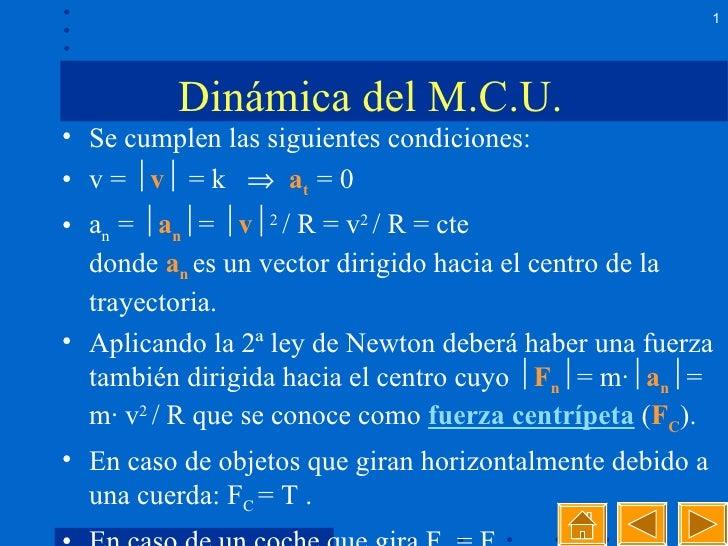 Dinámica del M.C.U.  <ul><li>Se cumplen las siguientes condiciones: </li></ul><ul><li>v =   v    = k     a t  = 0 </li>...