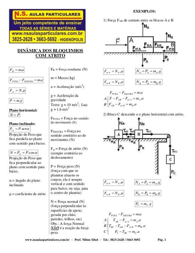 www.nsaulasparticulares.com.br – Prof. Nilton Sihel – Tel.: 3825-2628 / 3663-5692 Pág. 1 DINÂMICA DOS BLOQUINHOS COM ATRIT...