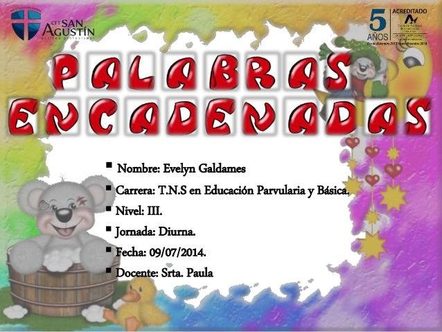  Nombre: Evelyn Galdames  Carrera: T.N.S en Educación Parvularia y Básica.  Nivel: III.  Jornada: Diurna.  Fecha: 09/...