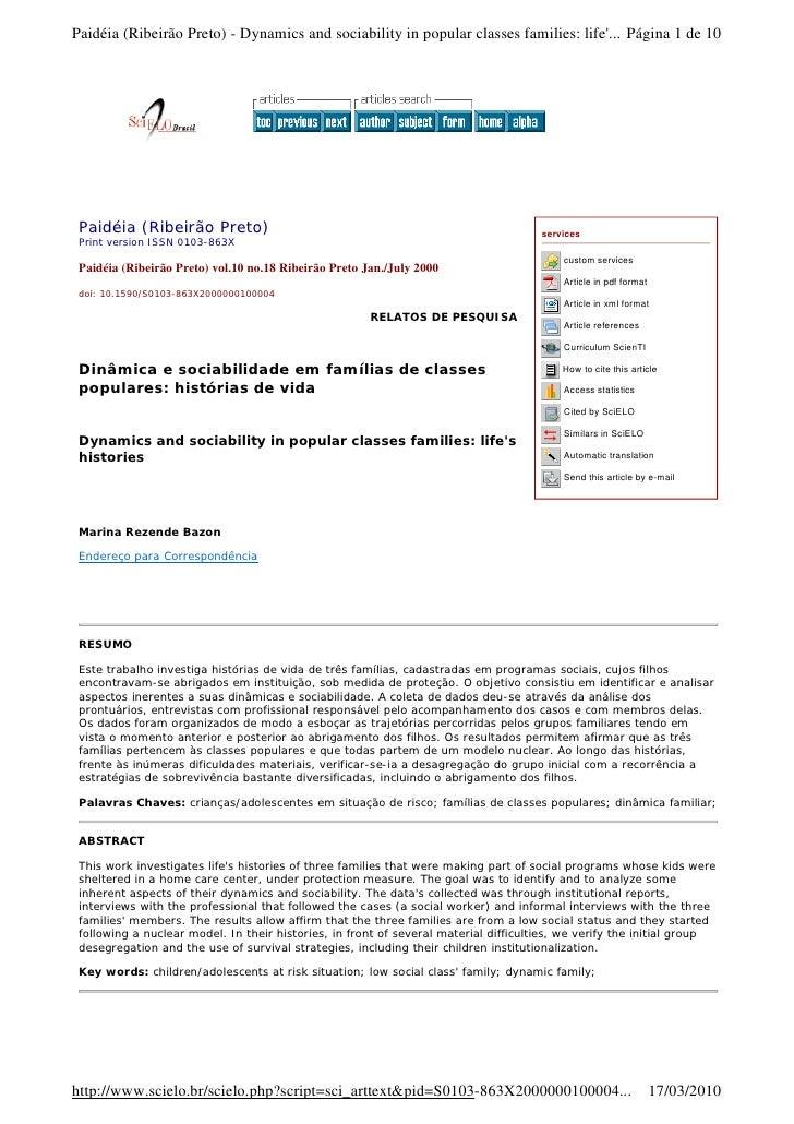 Paidéia (Ribeirão Preto) - Dynamics and sociability in popular classes families: life'... Página 1 de 10      Paidéia (Rib...