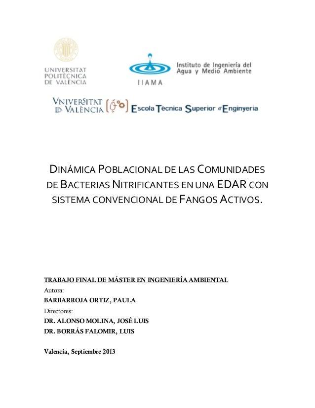 DINÁMICA  POBLACIONAL  DE  LAS  COMUNIDADES   DE  BACTERIAS  NITRIFICANTES  EN  UNA  EDAR  CON   S...