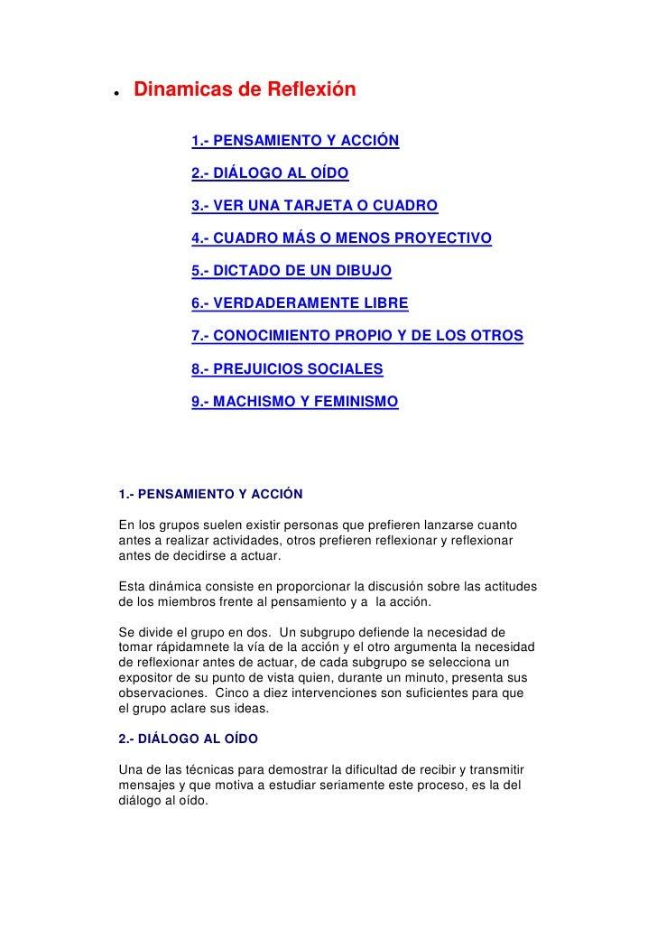 Dinamicas de Reflexión            1.- PENSAMIENTO Y ACCIÓN            2.- DIÁLOGO AL OÍDO            3.- VER UNA TARJETA O...