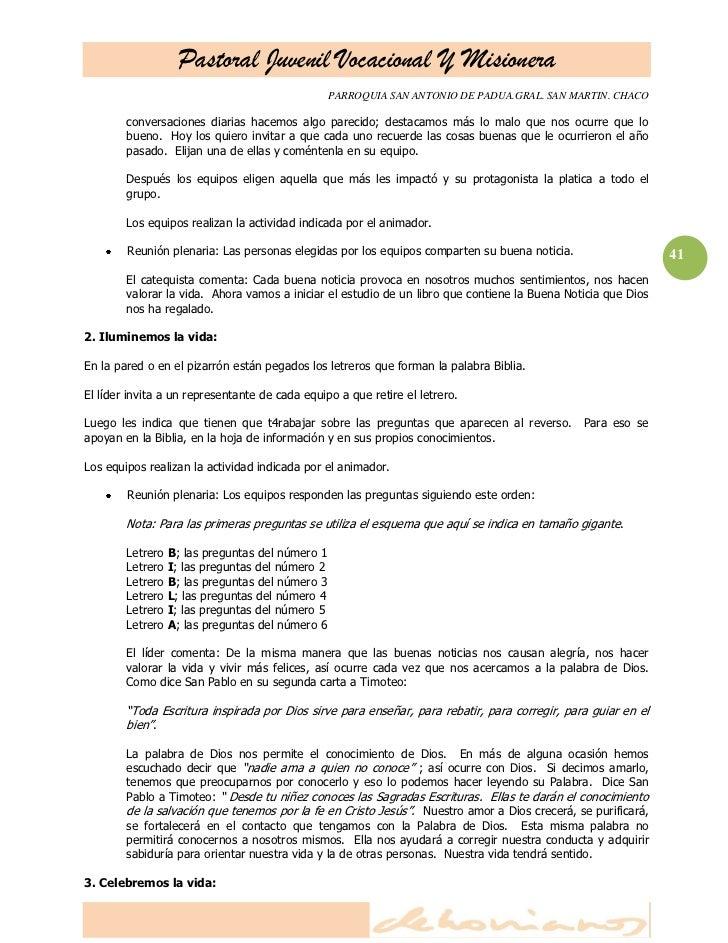 Pastoral Juvenil Vocacional Y Misionera                                              PARROQUIA SAN ANTONIO DE PADUA.GRAL. ...