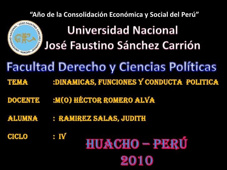 """""""Año de la Consolidación Económica y Social del Perú""""<br />Universidad Nacional<br />José Faustino Sánchez Carrión<br />Fa..."""