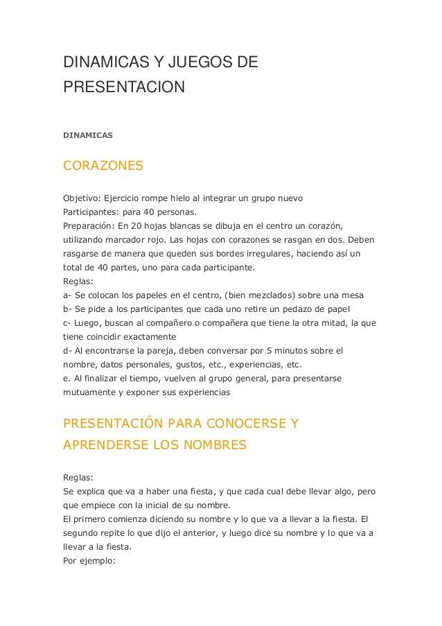 Dinamicas Y Juegos Para Niños 2013