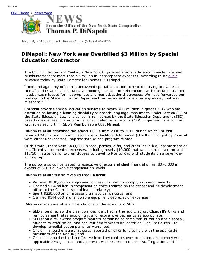 6/1/2014 DiNapoli: New Yorkwas Overbilled $3 Million bySpecial Education Contractor, 5/28/14 http://www.osc.state.ny.us/pr...