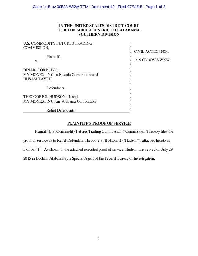 Dinar corp court case vs cftc 115 cv 00538 wkw tfm
