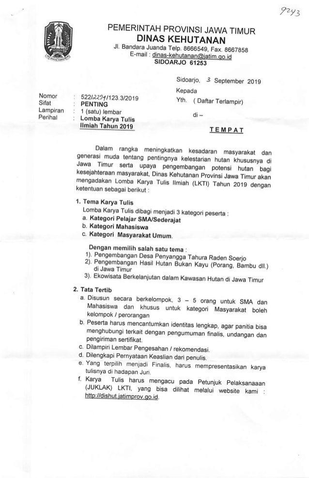 Lomba Karya Tulis Ilmiah Dinas Kehutanan Jawa Timur 2019