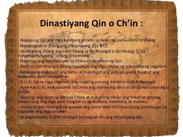 Dinastiyang Qin o Ch'in : • · Nagapi ng Qin ang mga kalabang estado sa ilalim ng pamumuno ni Zheng. • · Napabagsak ni Zhen...
