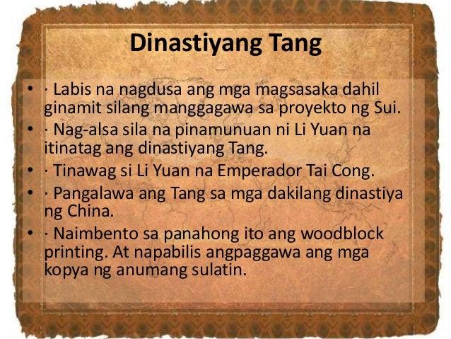 Dinastiyang Tang • · Labis na nagdusa ang mga magsasaka dahil ginamit silang manggagawa sa proyekto ng Sui. • · Nag-alsa s...