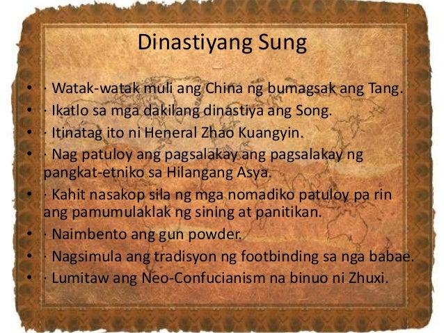 Dinastiyang Sung • · Watak-watak muli ang China ng bumagsak ang Tang. • · Ikatlo sa mga dakilang dinastiya ang Song. • · I...