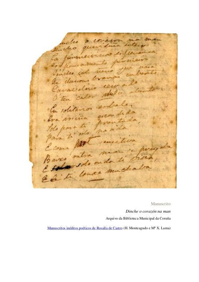 Manuscrito Dinche o corazón na man Arquivo da Biblioteca Municipal da Coruña Manuscritos inéditos poéticos de Rosalía de C...
