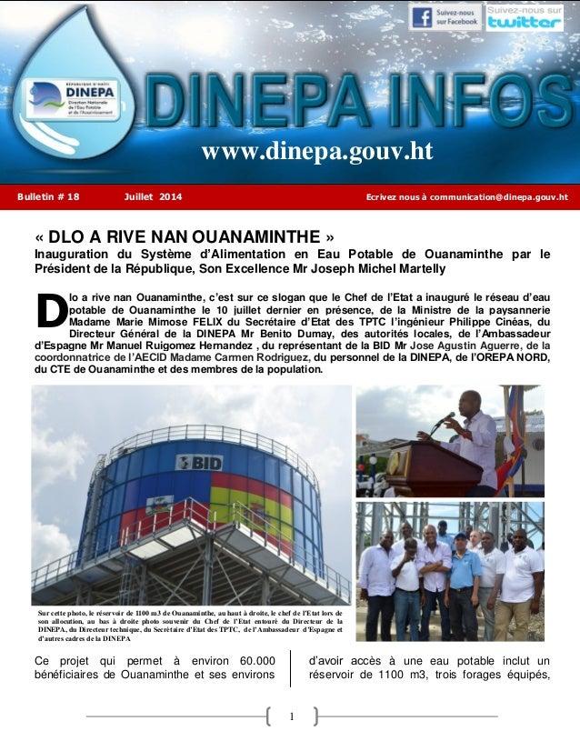 1 ` « DLO A RIVE NAN OUANAMINTHE » Inauguration du Système d'Alimentation en Eau Potable de Ouanaminthe par le Président d...