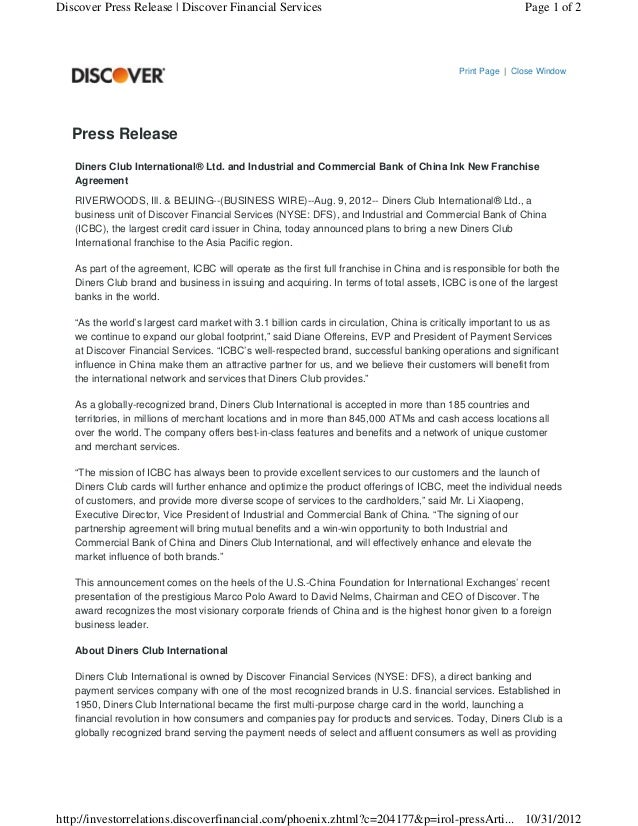 Discover Press Release   Discover Financial Services                                                        Page 1 of 2   ...