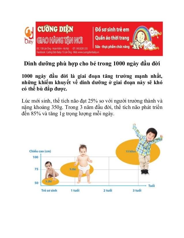 Dinh dưỡng phù hợp cho bé trong 1000 ngày đầu đời 1000 ngày đầu đời là giai đoạn tăng trưởng mạnh nhất, những khiếm khuyết...