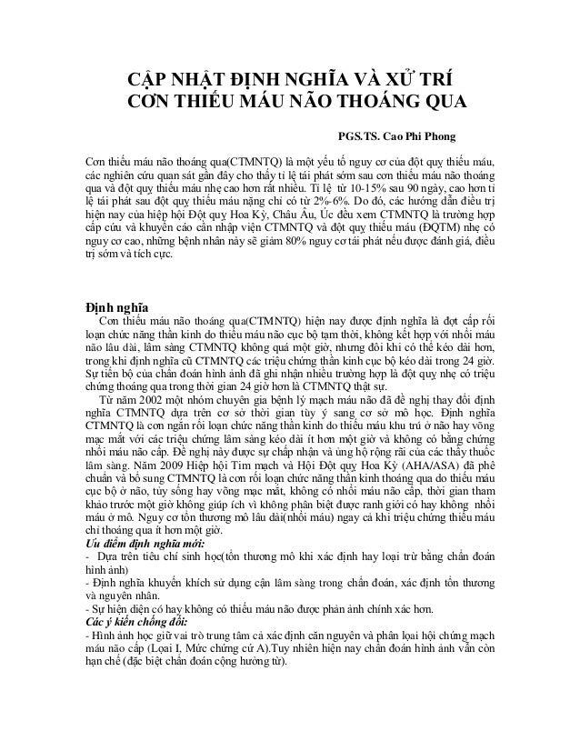 CẬP NHẬT ĐỊNH NGHĨA VÀ XỬ TRÍ C N TH N TH NG A PGS.TS. Cao Phi Phong Cơn thiếu máu não thoáng qua(CTMNTQ) là một yếu tố ng...