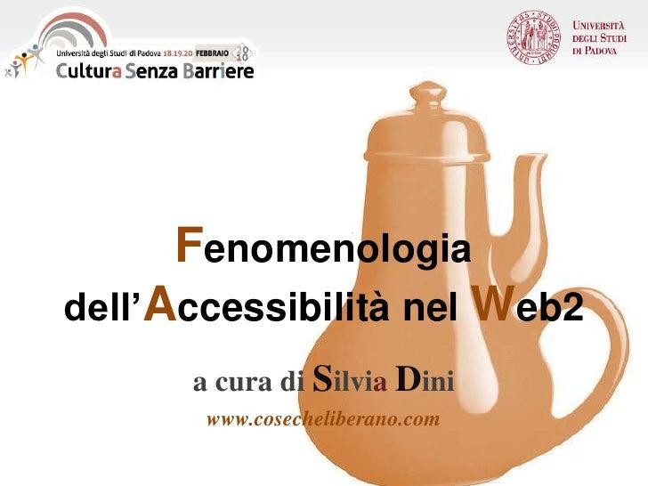 Fenomenologia dell'Accessibilità nel Web2<br />a cura di SilviaDini<br />www.cosecheliberano.com<br />