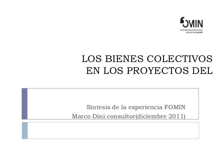 LOS BIENES COLECTIVOS    EN LOS PROYECTOS DEL    Síntesis de la experiencia FOMINMarco Dini consultor(diciembre 2011)