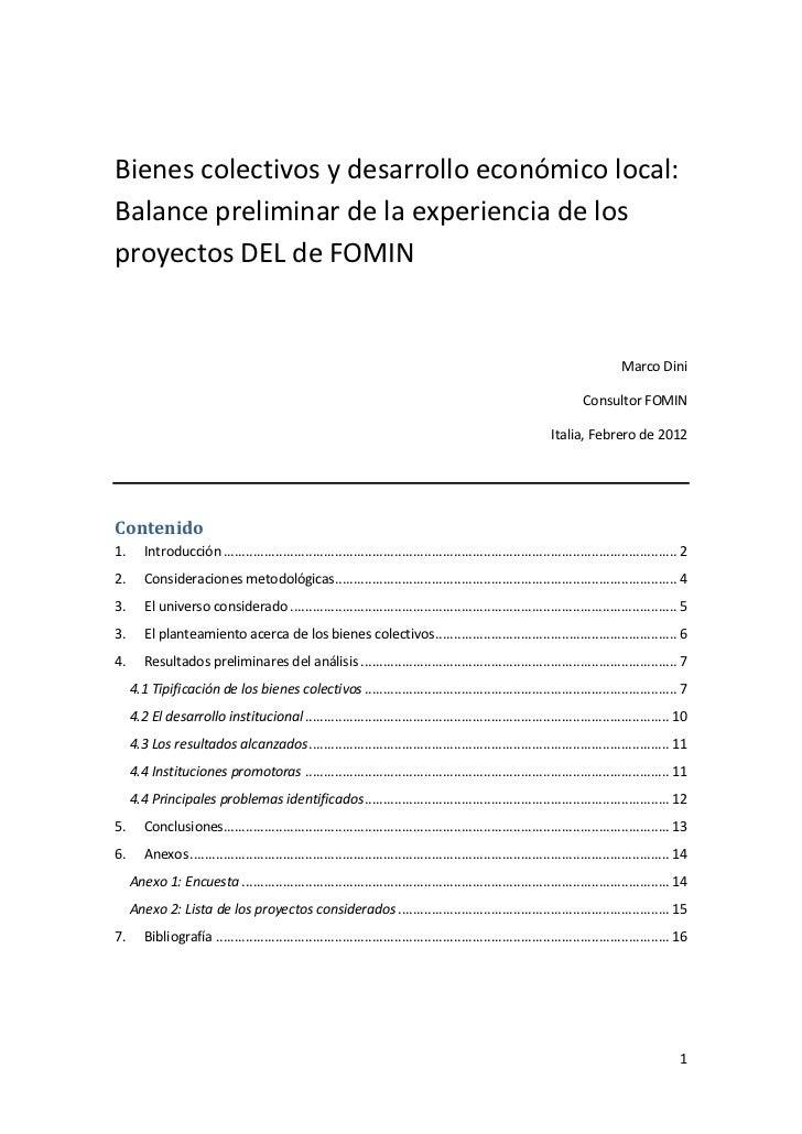 Bienes colectivos y desarrollo económico local:Balance preliminar de la experiencia de losproyectos DEL de FOMIN          ...