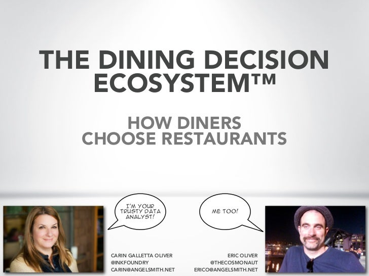 THE DINING DECISION                        ECOSYSTEM™                                                    HOW DINERS       ...