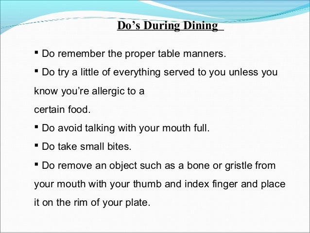 16 Dos During Dining Do Remember The Proper Table Manners