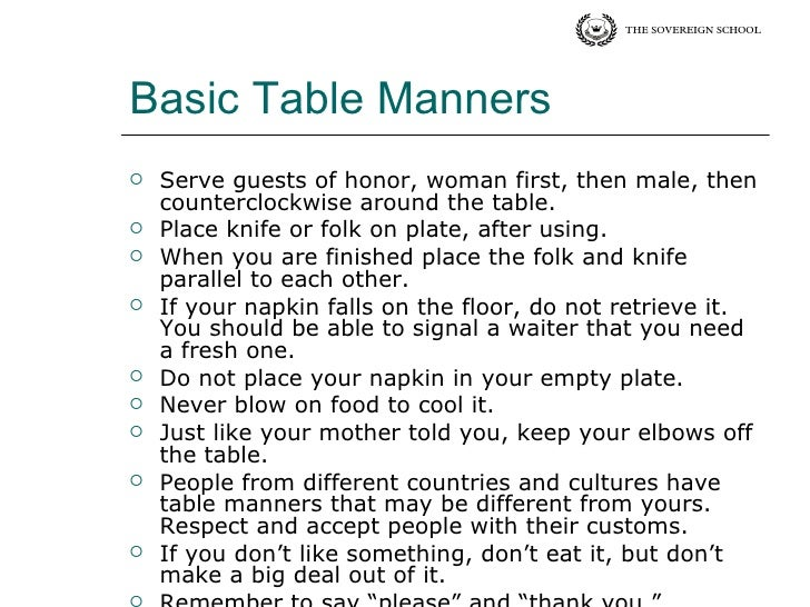 TABLE MANNERS AND ETIQUETTES EBOOK