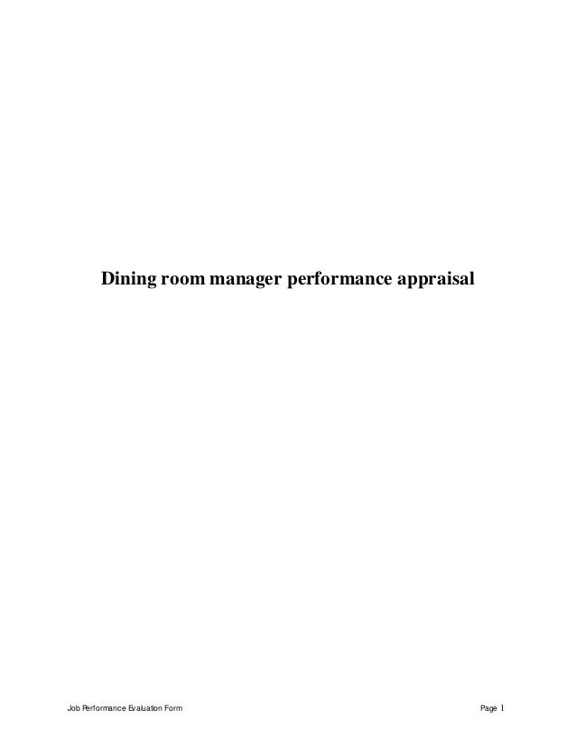 Job Performance Evaluation Form Page 1 Dining Room Manager Appraisal