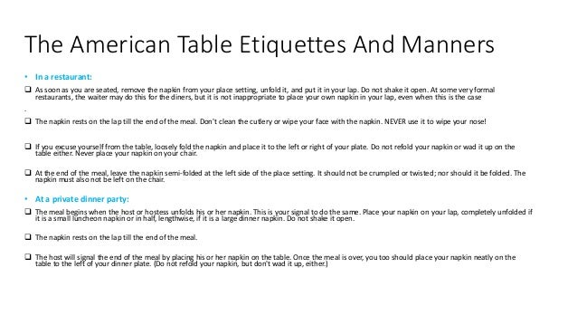 3 The American Table Etiquettes
