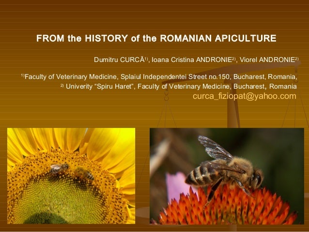 FROM the HISTORY of the ROMANIAN APICULTURE Dumitru CURCĂ1) , Ioana Cristina ANDRONIE2) , Viorel ANDRONIE2) 1) Faculty of ...