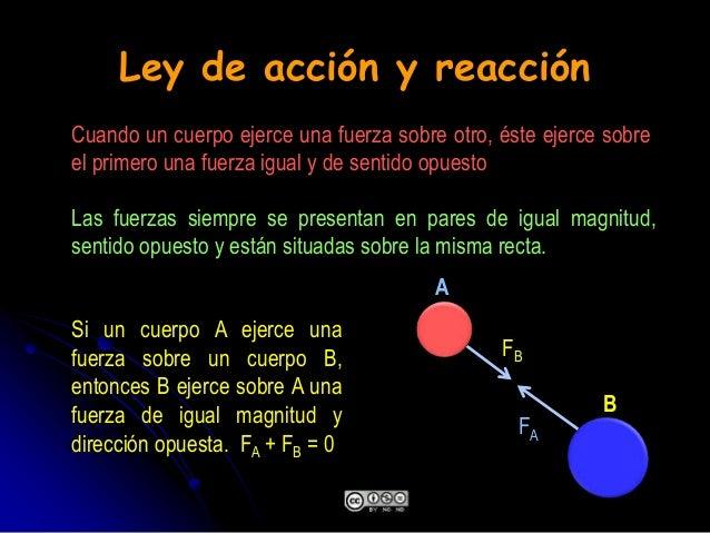 Ley de acción y reacción Si un cuerpo A ejerce una fuerza sobre un cuerpo B, entonces B ejerce sobre A una fuerza de igual...