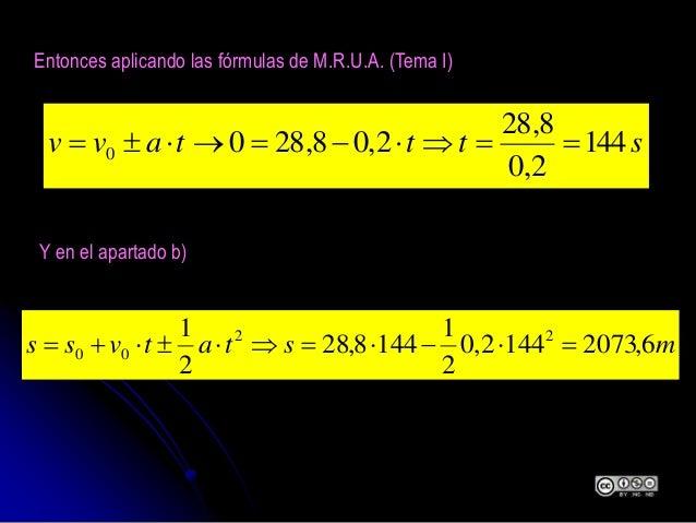 Entonces aplicando las fórmulas de M.R.U.A. (Tema I) stttavv 144 2,0 8,28 2,08,2800  Y en el apartado b) mstatvs...