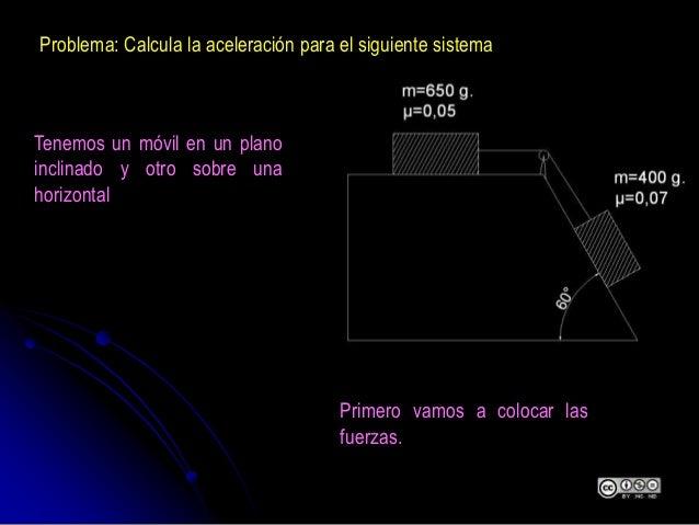 Problema: Calcula la aceleración para el siguiente sistema Tenemos un móvil en un plano inclinado y otro sobre una horizon...
