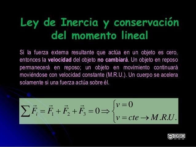 Ley de Inercia y conservación del momento lineal        ... 0 0321 URMctev v FFFFi  Si la fuerza externa r...