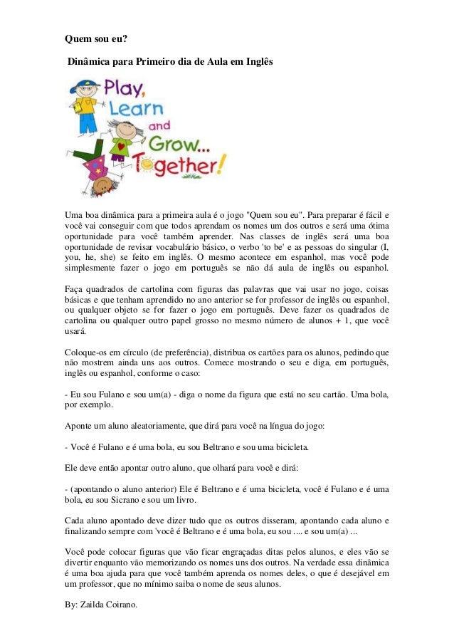 Dinâmica 1º Dia De Aula Ingles