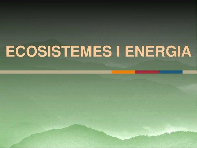 ECOSISTEMES I ENERGIA