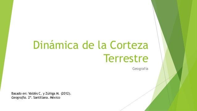 Dinámica de la Corteza Terrestre Geografía Basado en: Valdés C. y Zúñiga M. (2012). Geografía. 2ª. Santillana. México