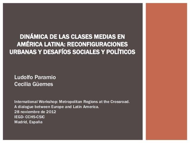 DINÁMICA DE LAS CLASES MEDIAS EN  AMÉRICA LATINA: RECONFIGURACIONESURBANAS Y DESAFÍOS SOCIALES Y POLÍTICOS Ludolfo Paramio...