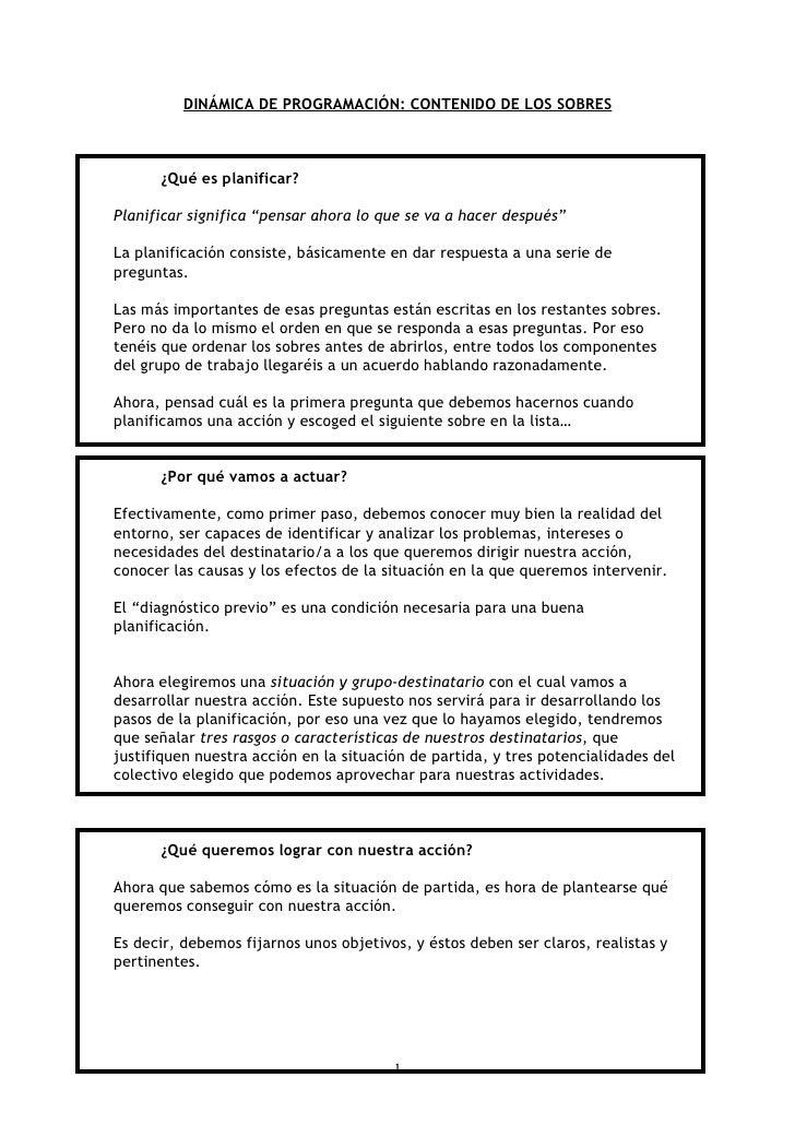"""DINÁMICA DE PROGRAMACIÓN: CONTENIDO DE LOS SOBRES          ¿Qué es planificar?  Planificar significa """"pensar ahora lo que ..."""